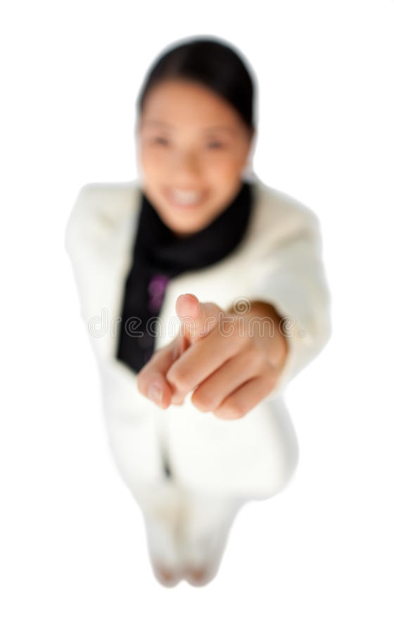 Download Young Asian Businesswoman Pointing At The Camera Stock Image - Image: 12211683