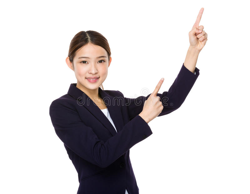 Young asian businesswoman showing. Isolated on white background stock photo