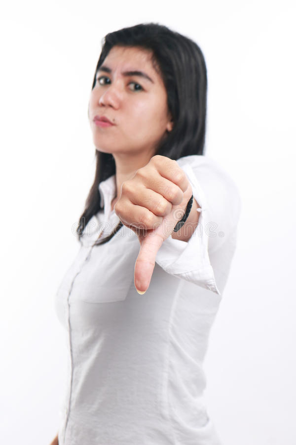 Young Asian Businesswoman Showing Thumb Down stock images