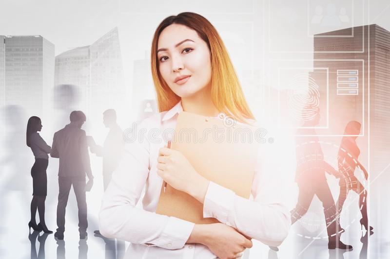 Asian businesswoman and team, business interface royalty free stock photos