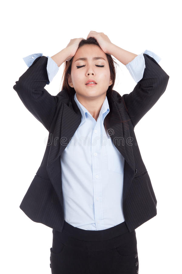 Young Asian businesswoman stressed , got headache ,unhappy royalty free stock photography