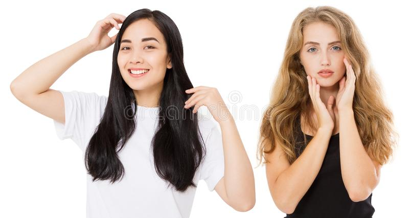 Young asian and caucasian women with healthy clean shiny hair isolated on white background. Skin care. Girl long hairstyle. Copy stock photography