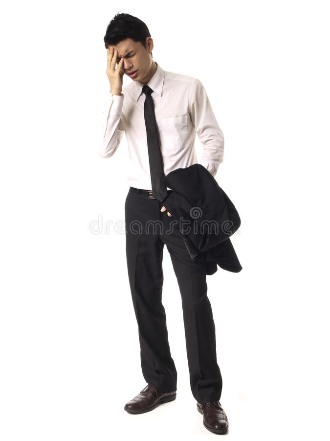 Young Asian Corporate Man feeling stressed. White background stock photography