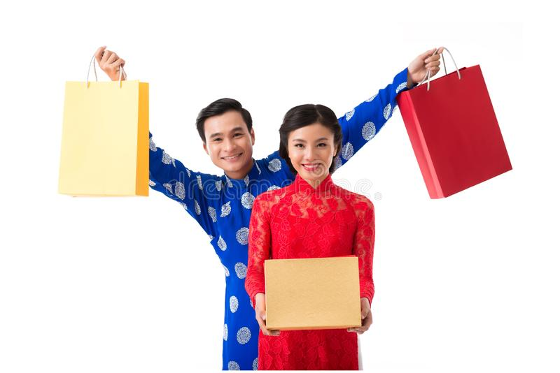Couple with Tet presents royalty free stock photography