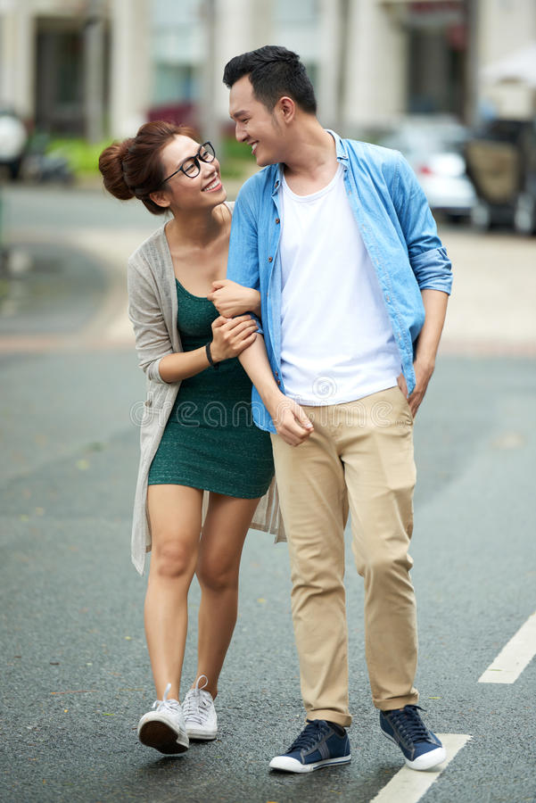 Young Asian Couple on Date royalty free stock photos