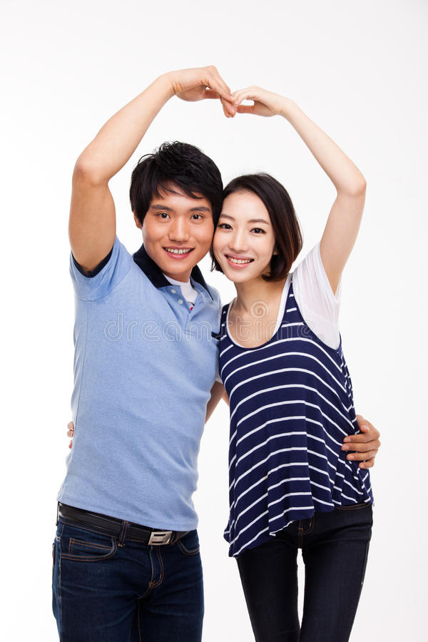 Download Young Asian Couple Make Heart Shape Stock Image - Image: 29024911