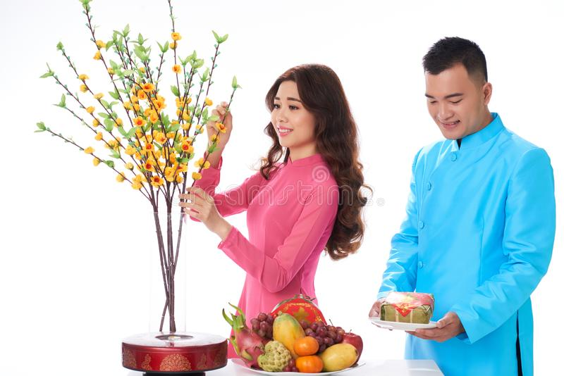 Couple serving table for Tet royalty free stock image