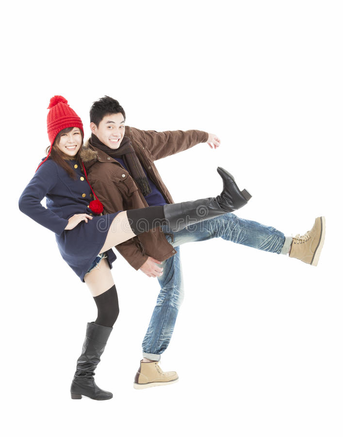 Download Young Asian Couple In Winter Clothing Stock Image - Image: 27155493