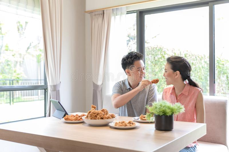 Couples eating together stock image