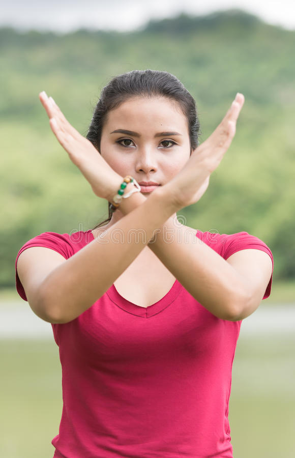 Young asian cute woman making stop desture royalty free stock photos