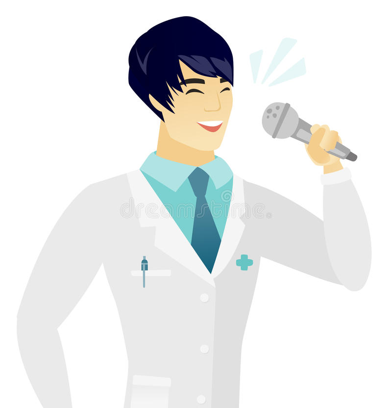 Young asian doctor singing to the microphone. Asian doctor in medical gown singing to the microphone. Young doctor singing with closed eyes. Happy doctor vector illustration