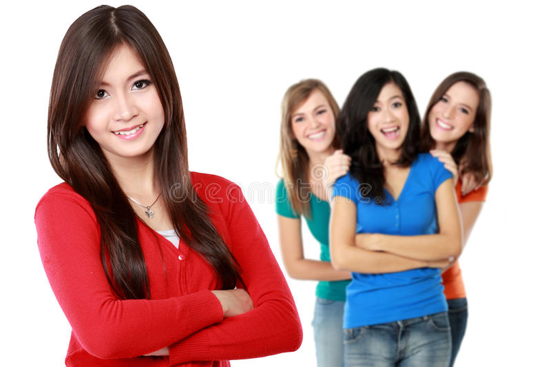 Young asian female with her friend at the background stock photo