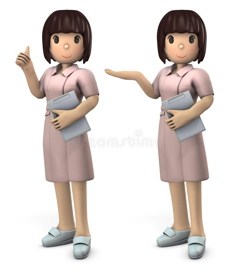 Young Asian Female Nurse. She expresses peace of mind and hospitality. White background. 3D illustration. Asian woman. short hair vector illustration