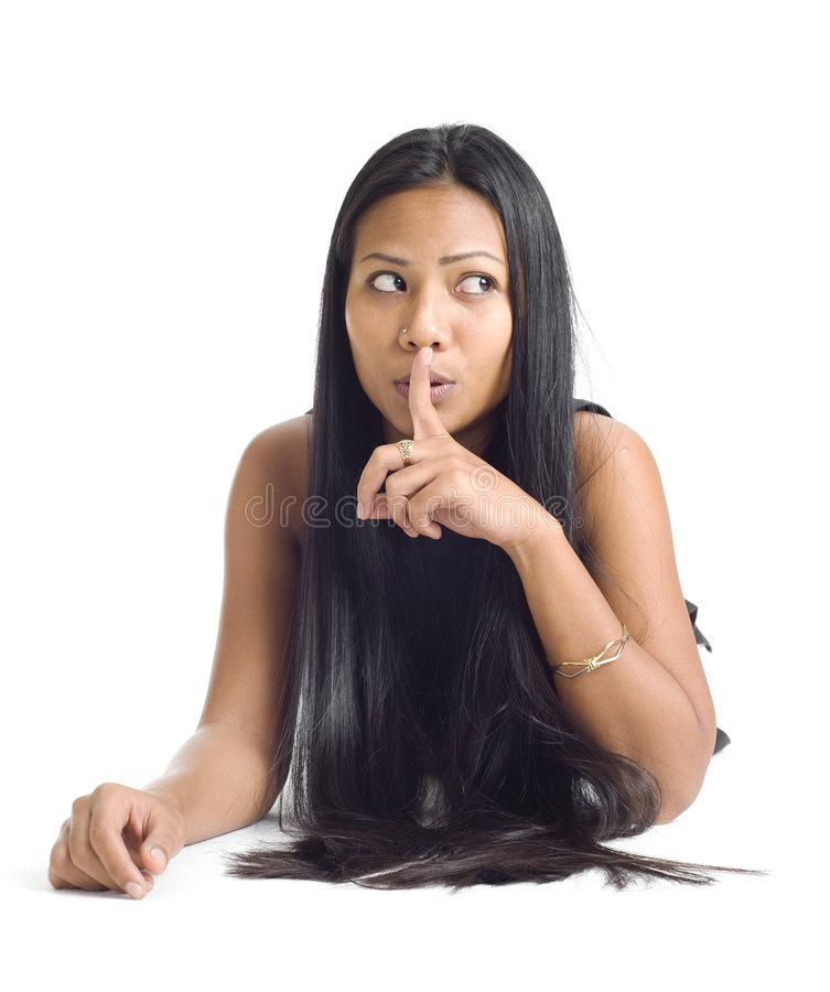 Download Young Asian With Finger On Her Lips Stock Image - Image: 6913945