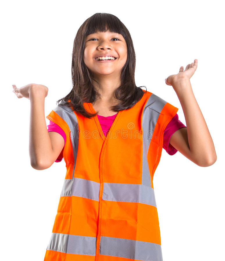 Young Asian Girl With Safety Vest II. Young Asian preteen girl with an orange safety reflective vest over white background stock photos