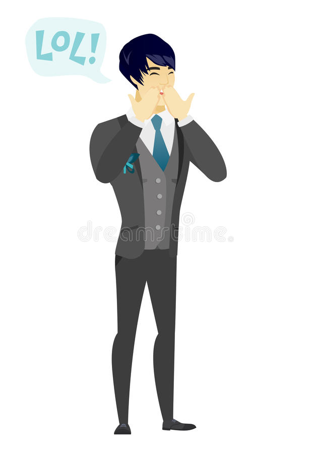 Young asian groom laughing out loud. Happy groom and speech bubble with text - lol. Groom laughing out loud and covering his mouth. Vector flat design royalty free illustration