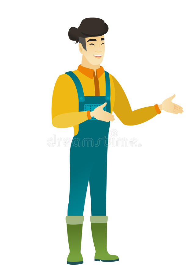 Young asian happy farmer gesturing. Asian happy farmer in coveralls gesturing. Full length of cheerful farmer gesturing with his hands. Young farmer laughing vector illustration