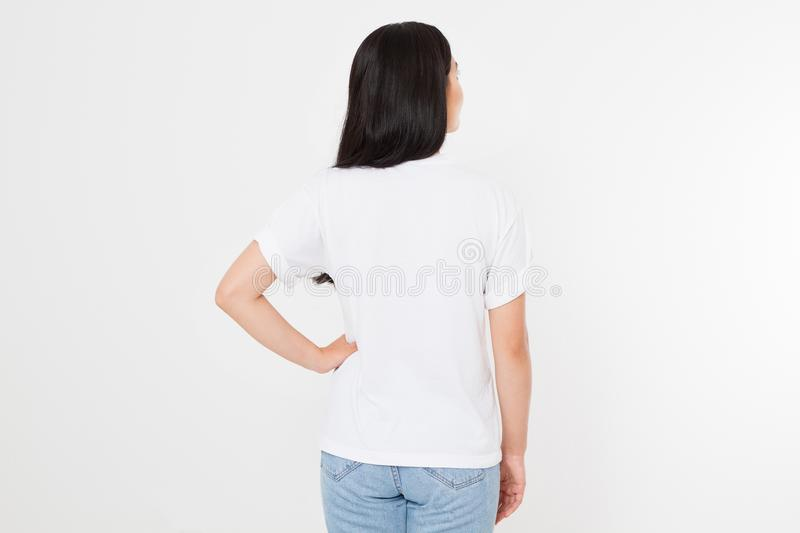 Young asian japanese woman in blank white t-shirt. t shirt design and people concept. Shirts front view isolated on white backgrou royalty free stock photos