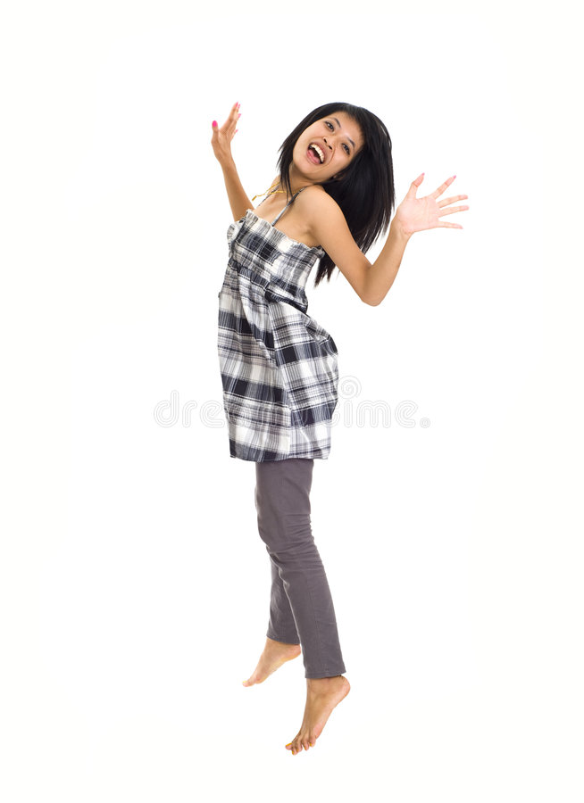 Free Young Asian Jumping For Joy Stock Photo - 6967940