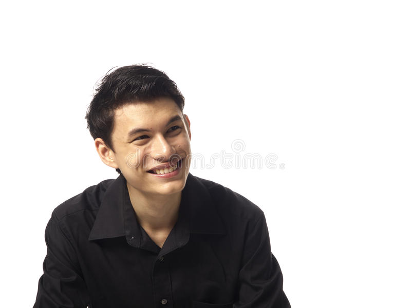 Young Asian Man Looking Up Stock Photography