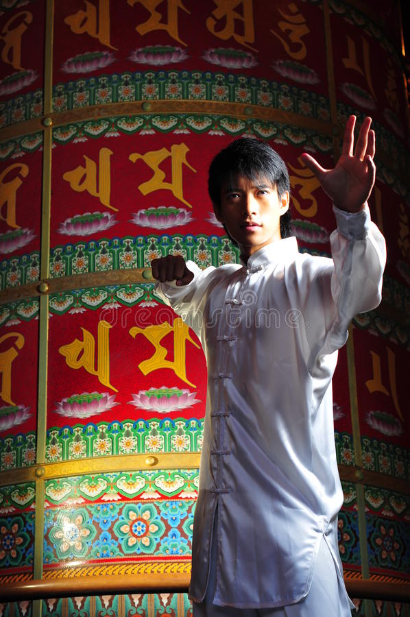 Young Asian Man practicing Martial Arts stock images