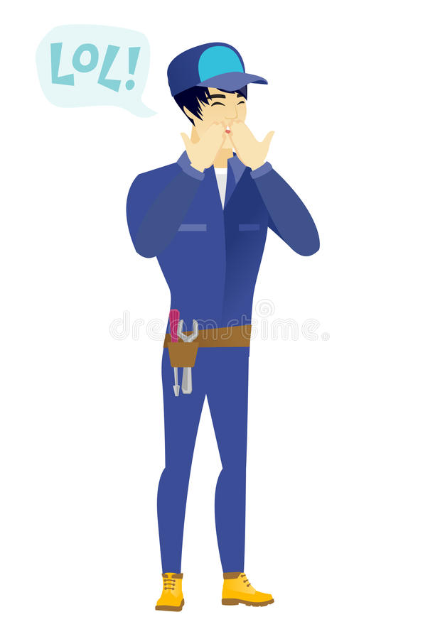 Young asian mechanic laughing out loud. Mechanic and speech bubble with text - lol. Mechanic laughing out loud and covering his mouth. Vector flat design stock illustration