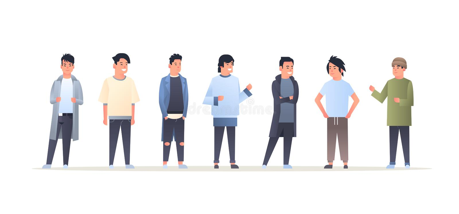 Young asian men group wearing casual clothes happy attractive guys standing together chinese or japanese male cartoon. Characters full length flat horizontal vector illustration