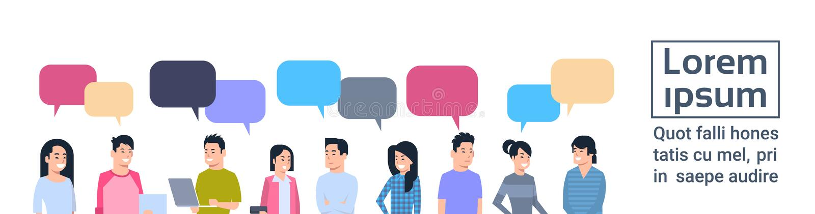 Young Asian Men And Women Group With Chat Bubbles Chinese Or Japanese Male And Female People Full Length Communication. Concept Vector Illustration vector illustration