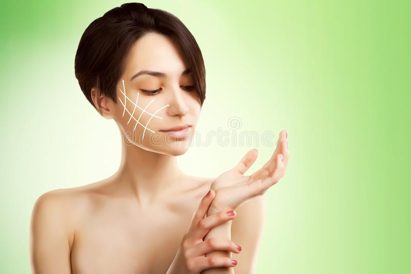 Stylish young asian model with surgery marks on her face stock photos