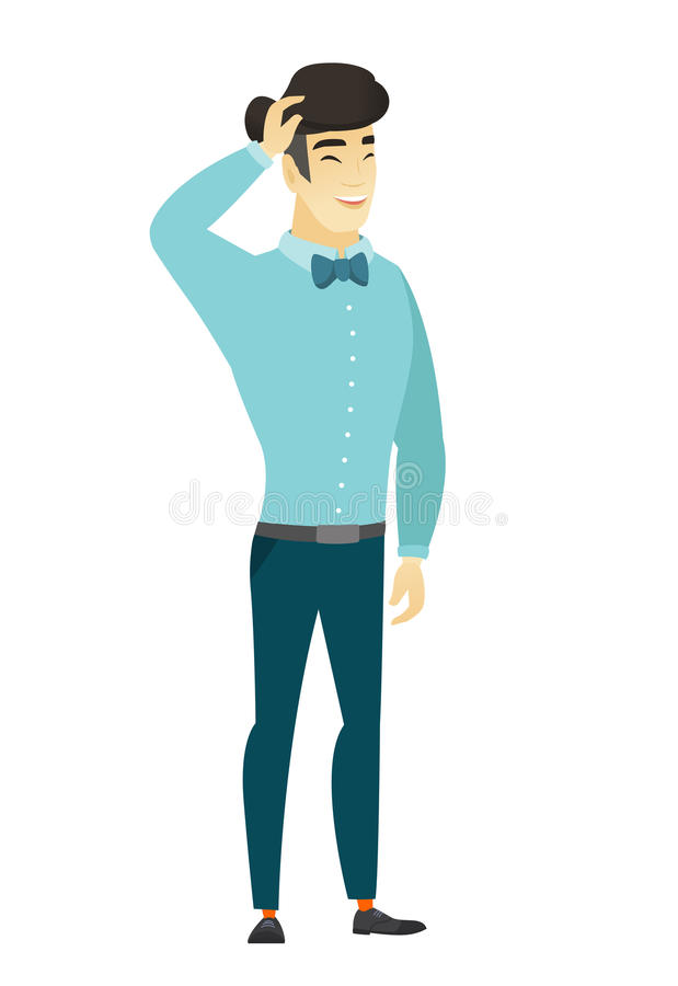 Young asian office worker laughing. vector illustration
