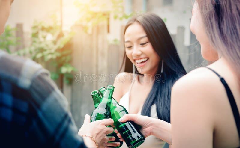 In Beer Garden Friends Drinking Beer Stock Image Image