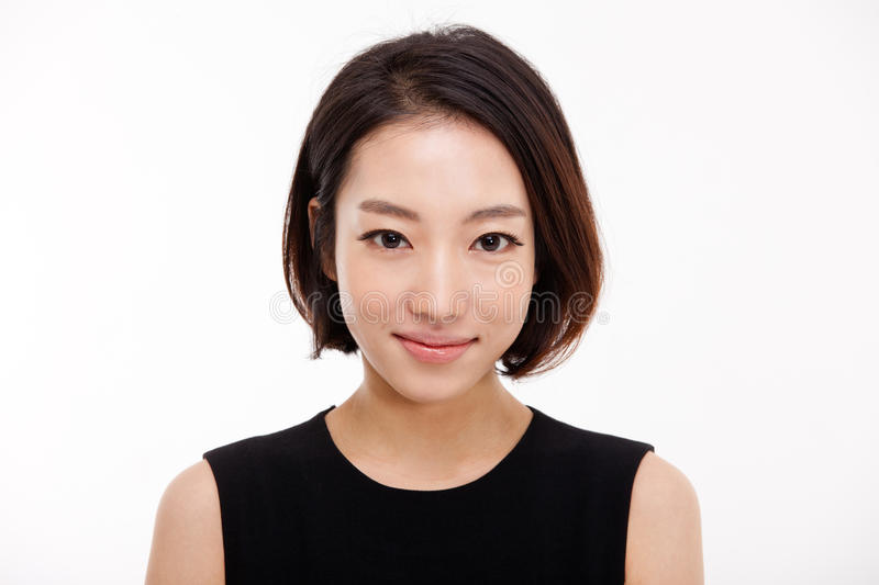 Young Asian pretty business woman close up portrait . Young Asian pretty business woman close up portrait isolated on white background stock photo