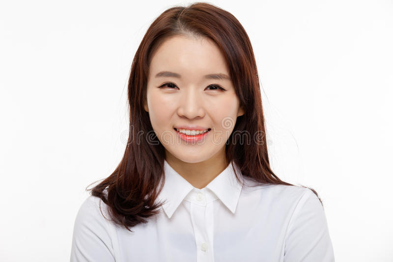 Young Asian pretty business woman close up portrait royalty free stock photography