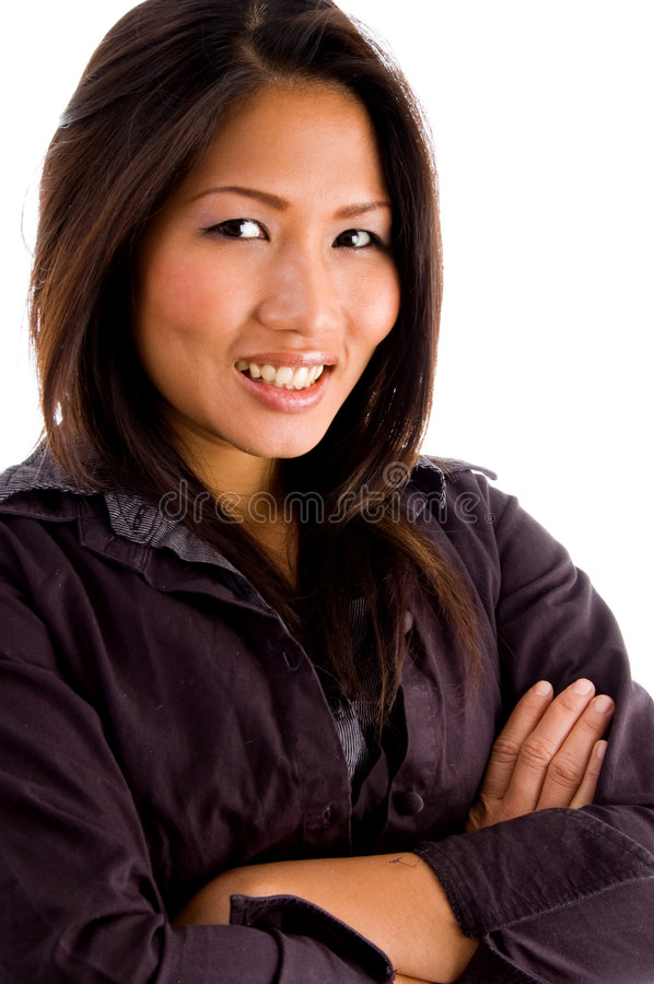 Young asian professional with arms folded stock image