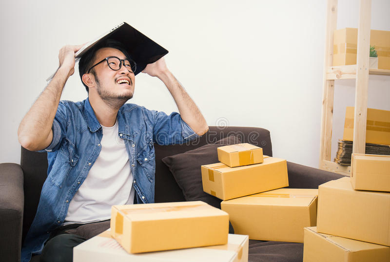 Young Asian small business owner at home office stock images