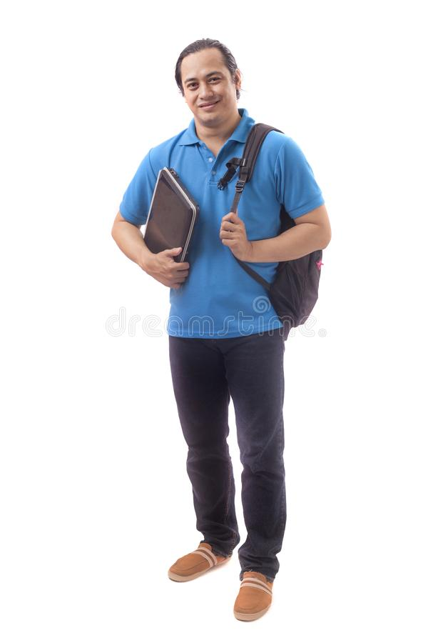 Young Asian Student With Laptop. Smiling Happily stock images