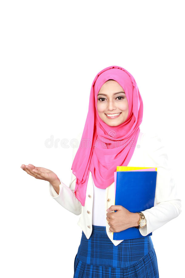Young asian student woman presentation. Portrait of young asian student woman presenting stock image