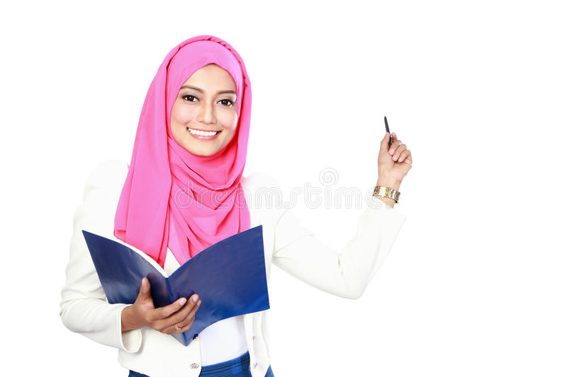 Young asian student woman presentation. Portrait of young asian student woman presenting stock photo