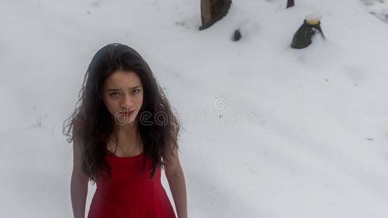 Young Asian teen in red dress surrounded by snow royalty free stock photos