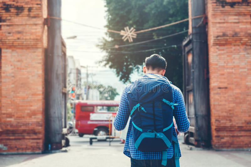 Young Asian traveling backpacker in Chiang Mai , Thailand stock photography