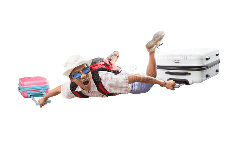 Young asian traveling man and luggage flying happiness emotion s stock images
