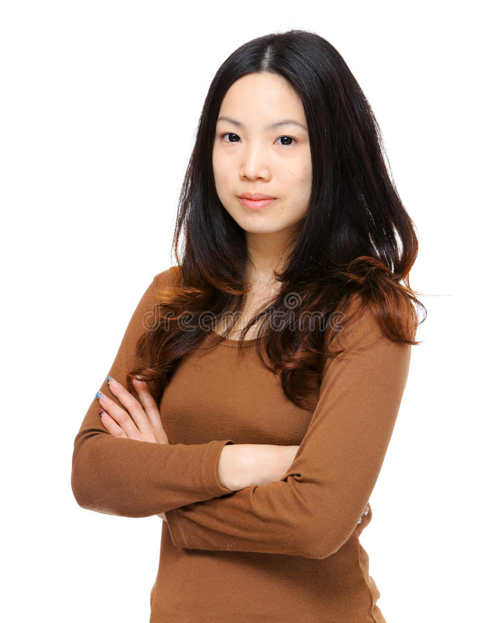 Young asian woman. Over white background stock photos