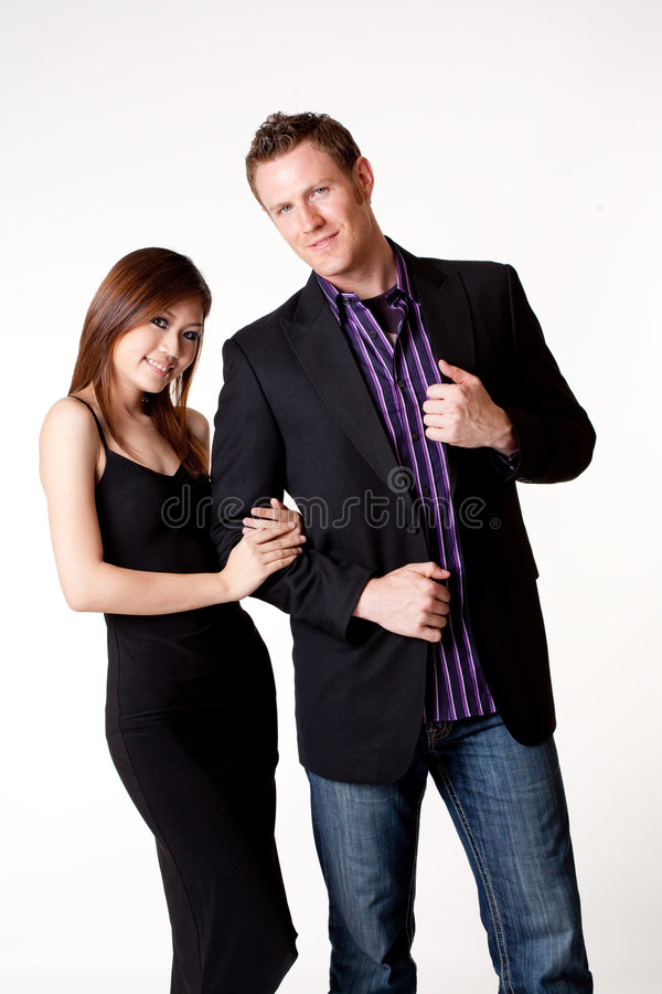Young asian woman with a Caucasian boyfriend royalty free stock image