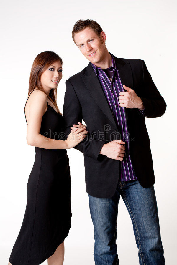 Young asian woman with a Caucasian boyfriend stock photo