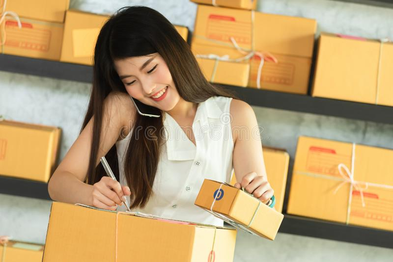 Young asian woman entrepreneur, teenager business owner work at. Home, alpha generation life style, online business conceptual royalty free stock photos