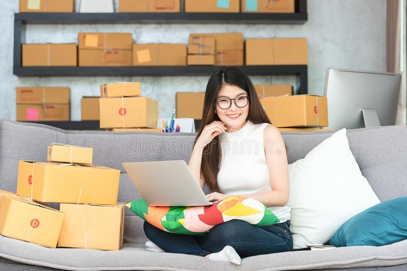 Young asian woman entrepreneur, teenager business owner work at. Home, alpha generation life style, online business conceptual stock photos