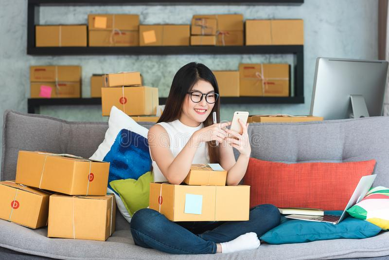 Young asian woman entrepreneur, teenager business owner work at. Home, alpha generation life style, online business conceptual royalty free stock images