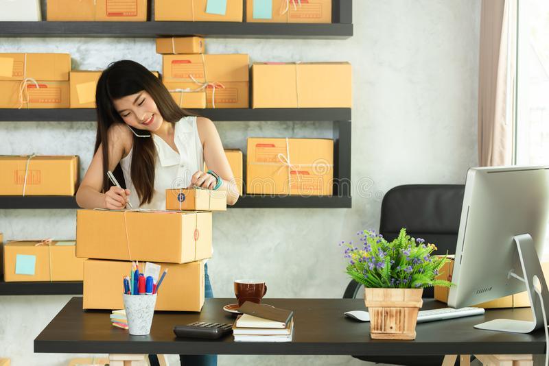 Young asian woman entrepreneur, teenager business owner work at. Home, alpha generation life style, online business conceptual royalty free stock photography