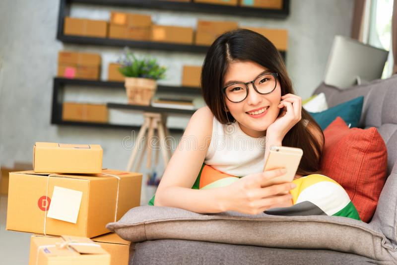 Young asian woman entrepreneur, teenager business owner work at. Home, alpha generation life style, online business conceptual stock image