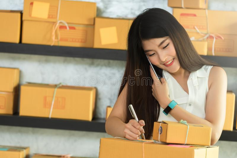 Young asian woman entrepreneur, teenager business owner work at. Home, alpha generation life style, online business conceptual royalty free stock image